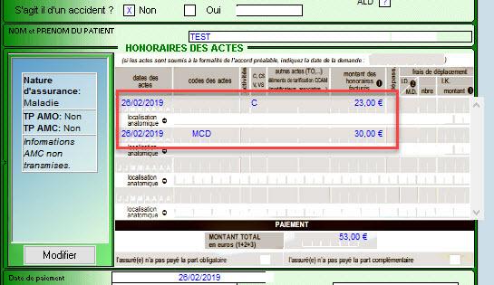 Exemple de FSE lors d'une PDS avec code MCD
